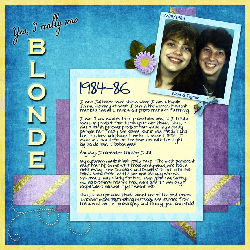 Blonde: scrapbook page with alot of journaling