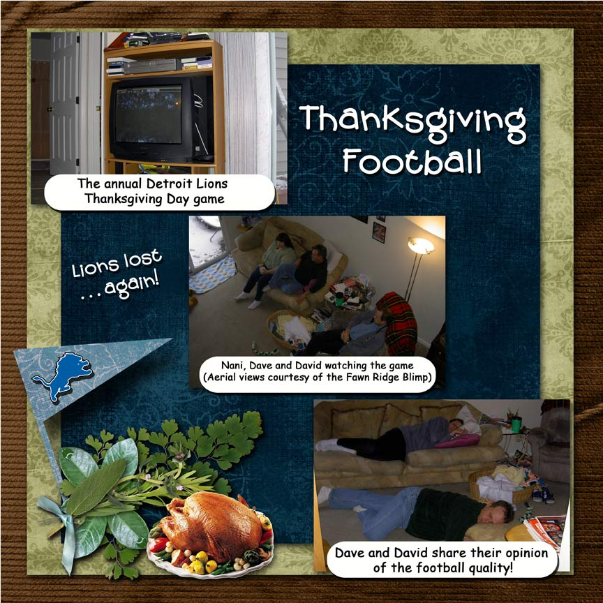 Thanksgiving Football: scrapbook page with captions